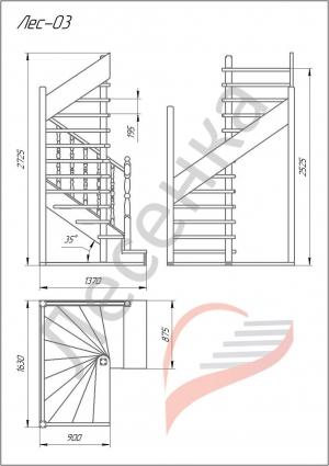 Деревянная межэтажная лестница ЛЕС-03