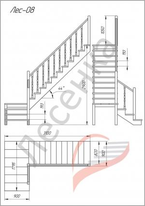 Деревянная межэтажная лестница ЛЕС-08