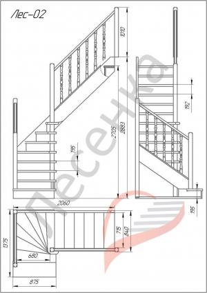 Деревянная межэтажная лестница ЛЕС-02