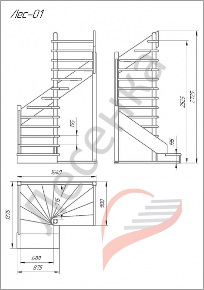 Деревянная межэтажная лестница ЛЕС-01