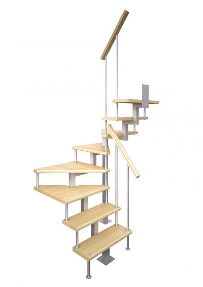 Модульная малогабаритная лестница Эксклюзив (c поворотом на 180 градусов)