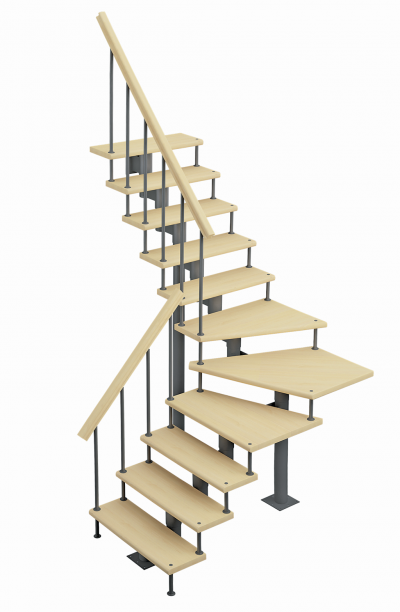 Модульная лестница Фаворит (с поворотом 90 градусов)